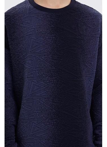 Loft Loft Desenli Uzun Kollu Erkek Sweatshirt Lacivert